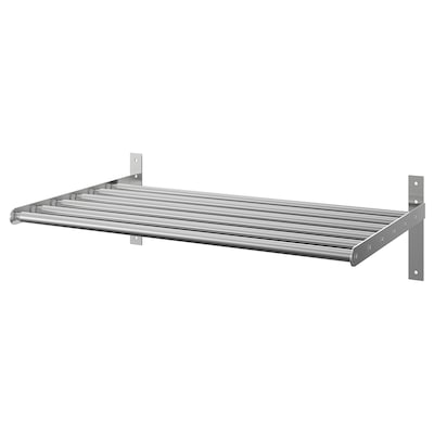 GRUNDTAL Drying rack, wall, stainless steel, 67-120 cm
