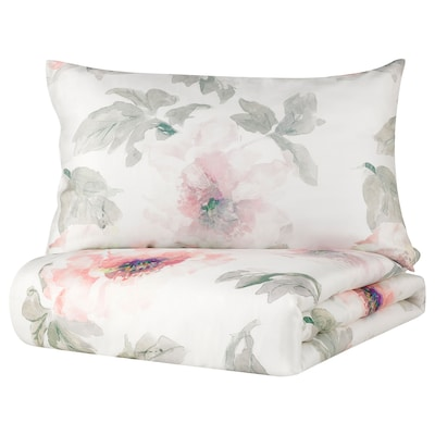 GULKÄMPAR Duvet cover and 2 pillowcases, green/floral patterned, 240x220/50x80 cm