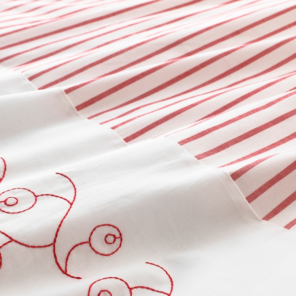 GULSPARV Quilt cover/pillowcase for cot, striped/red, 110x125/35x55 cm