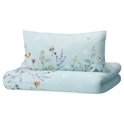 GULSYSKA Duvet cover and pillowcase, floral patterned/light blue, 150x200/50x80 cm