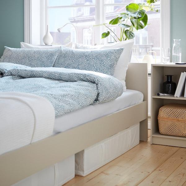 GURSKEN إطار سرير مع لوح رأس, بيج فاتح/Luröy, 140x200 سم