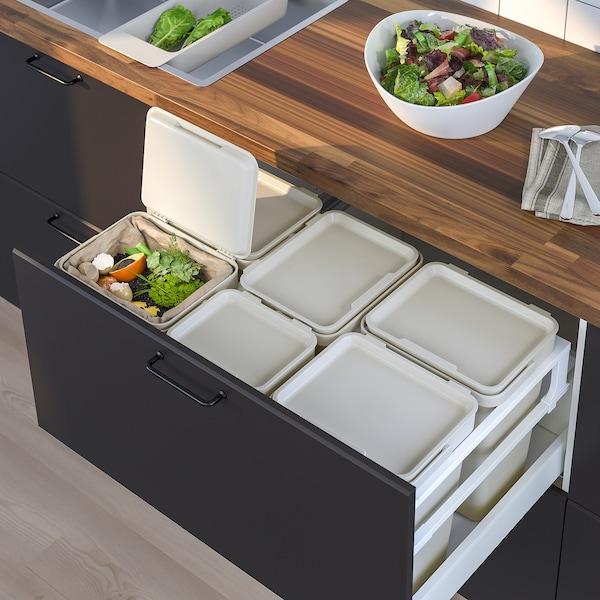 HÅLLBAR Bin with lid, light grey, 10 l