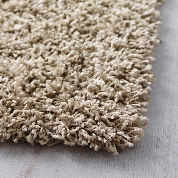 HAMPEN Rug, high pile, beige, 80x80 cm