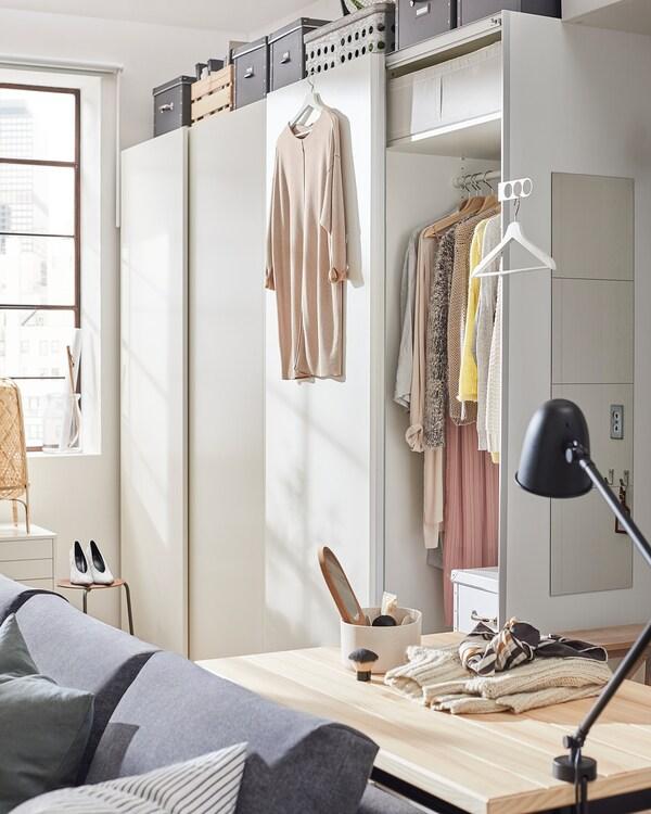 HASVIK Pair of sliding doors, white, 150x236 cm