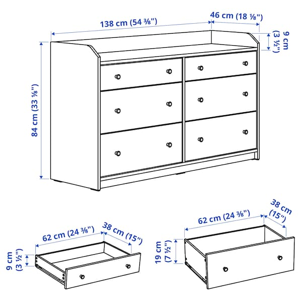 HAUGA Chest of 6 drawers, white, 138x84 cm