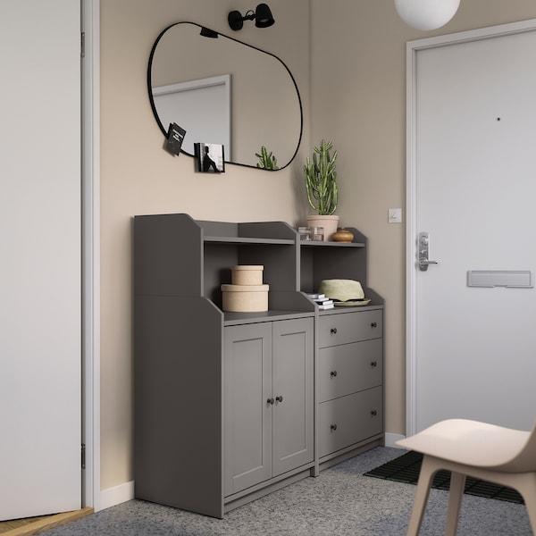 HAUGA Storage combination, grey, 139x46x116 cm