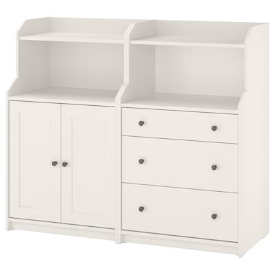 HAUGA Storage combination, white, 139x46x116 cm
