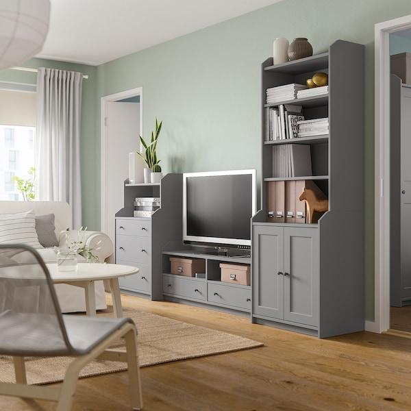 HAUGA TV/storage combination, grey, 277x46x199 cm