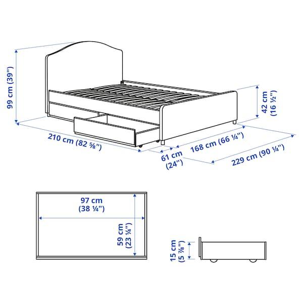 HAUGA سرير بتنجيد، صندوقي تخزين, Vissle رمادي, 160x200 سم