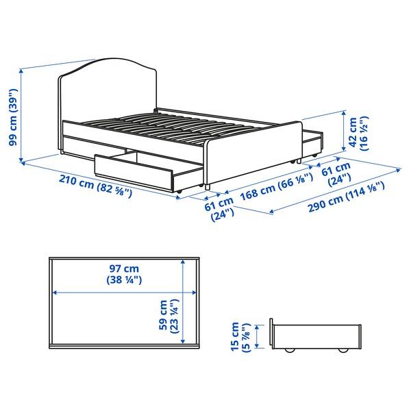 HAUGA سرير بتنجيد، 4 صناديق تخزين, Vissle رمادي, 160x200 سم