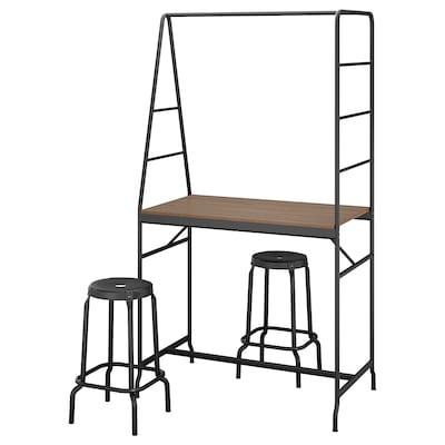 HÅVERUD / RÅSKOG Table and 2 stools, black/black, 105 cm