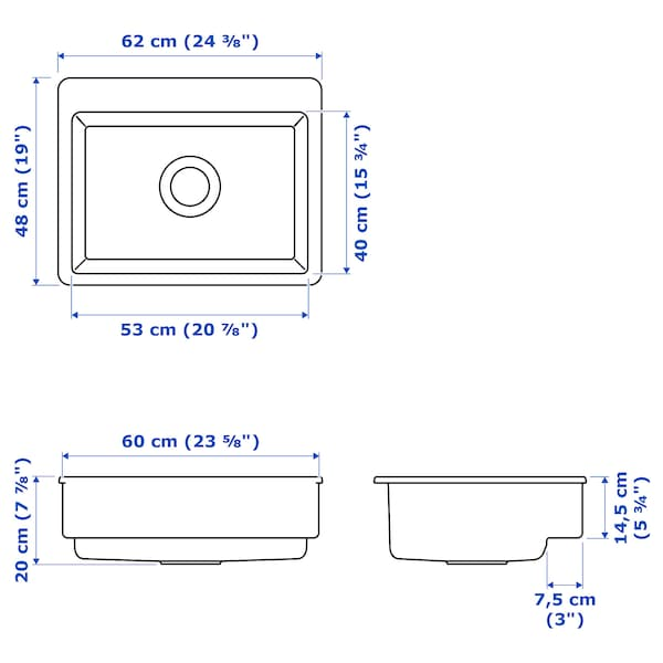 HAVSEN حوض بواجهة بارزة, أبيض, 62x48 سم