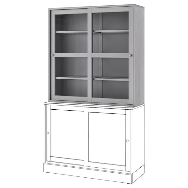 HAVSTA Glass-door cabinet, grey, 121x35x123 cm