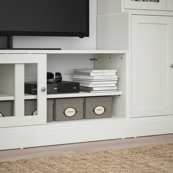 HAVSTA تشكيلة تخزين تلفزيون/أبواب زجاجية, أبيض, 322x47x212 سم