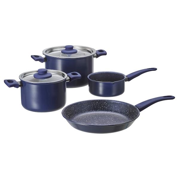 HEMLAGAD 6-piece cookware set, blue