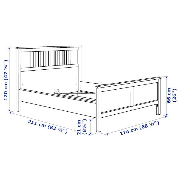 HEMNES هيكل سرير, رمادي مصبوغ/Lönset, 160x200 سم