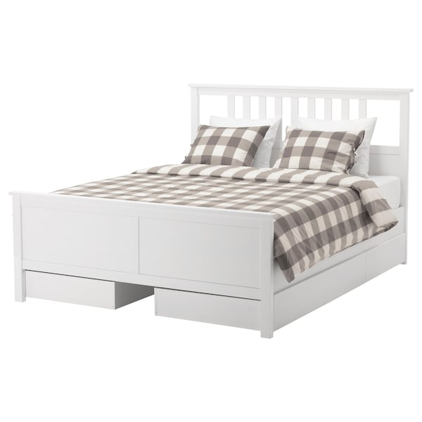 HEMNES bed frame with 4 storage boxes white stain/Luröy 211 cm 174 cm 66 cm 120 cm 200 cm 160 cm 18 cm 120 cm 64 cm