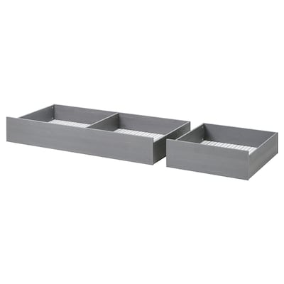HEMNES Bed storage box, set of 2, grey stained, 200 cm