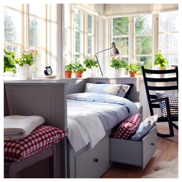 HEMNES Day-bed w 3 drawers/2 mattresses, grey/Malfors firm, 80x200 cm