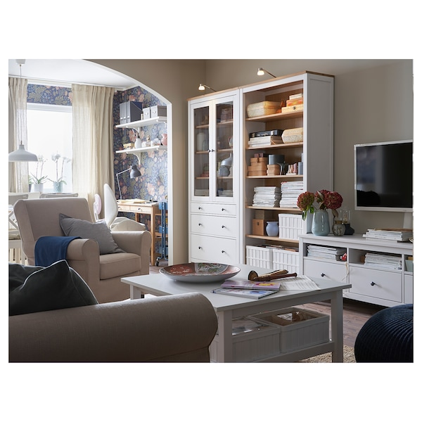 HEMNES Glass-door cabinet with 3 drawers, white stain/light brown, 90x197 cm