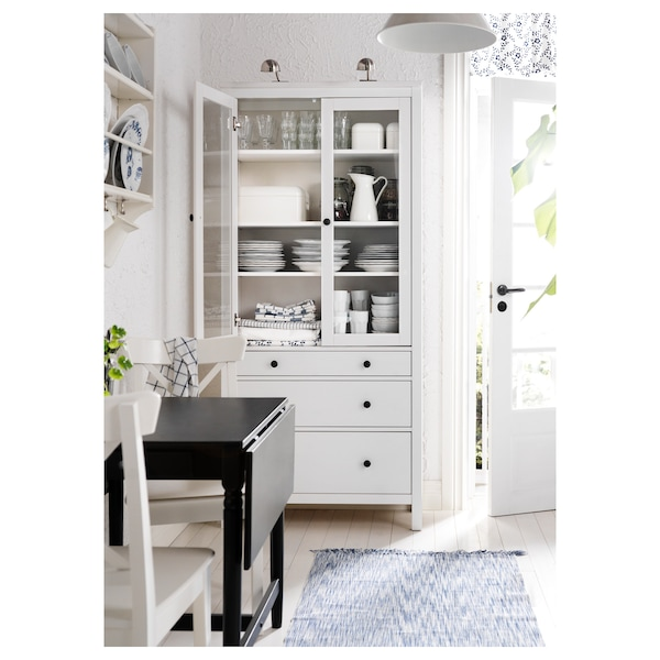 HEMNES Glass-door cabinet with 3 drawers, white stain, 90x197 cm