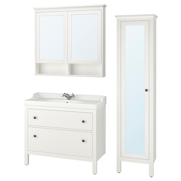 HEMNES / RÄTTVIKEN Bathroom furniture, set of 5, white/Runskär tap, 102 cm