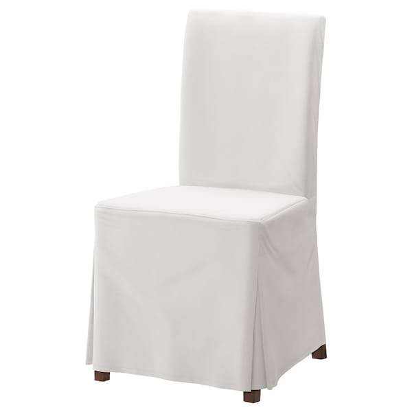 HENRIKSDAL Chair with long cover, brown/Blekinge white