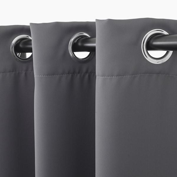 HILLEBORG block-out curtains, 1 pair grey 300 cm 145 cm 2.31 kg 4.35 m² 2 pack