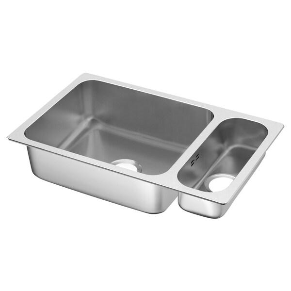 HILLESJÖN inset sink 1 1/2 bowl stainless steel 73.0 cm 44.0 cm 18.0 cm 50.0 cm 40.0 cm 28.0 l 12.0 cm 16.0 cm 40.0 cm 5.0 l 46.0 cm 75.0 cm 46.0 cm