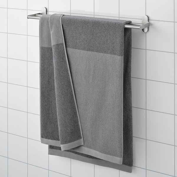 HIMLEÅN Bath sheet, dark grey/mélange, 100x150 cm