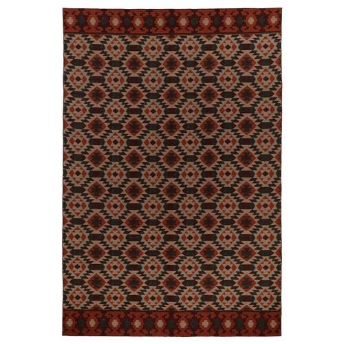 HVEJSEL rug, flatwoven multicoloured, dark 300 cm 200 cm