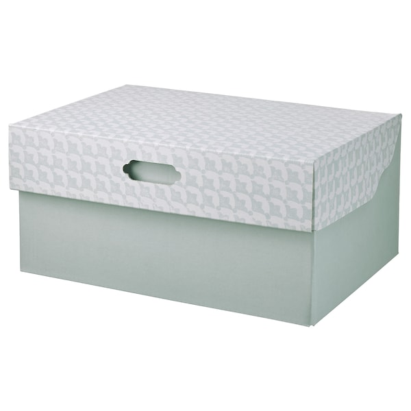 HYVENS Storage box with lid, grey-green white/paper, 33x23x15 cm