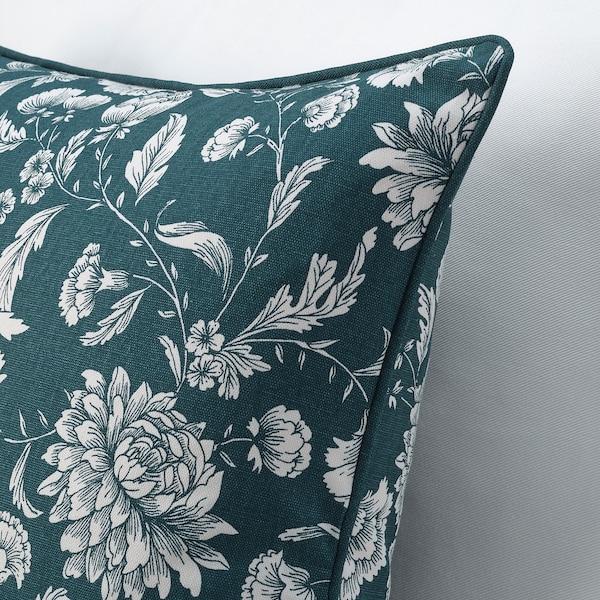 IDALINNEA غطاء وسادة, أزرق/أبيض/نقوش نباتية, 50x50 سم