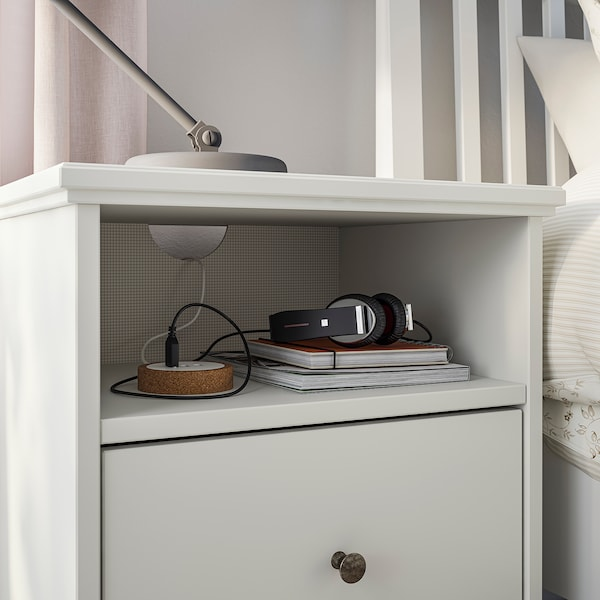 IDANÄS Bedside table, white, 47x40 cm