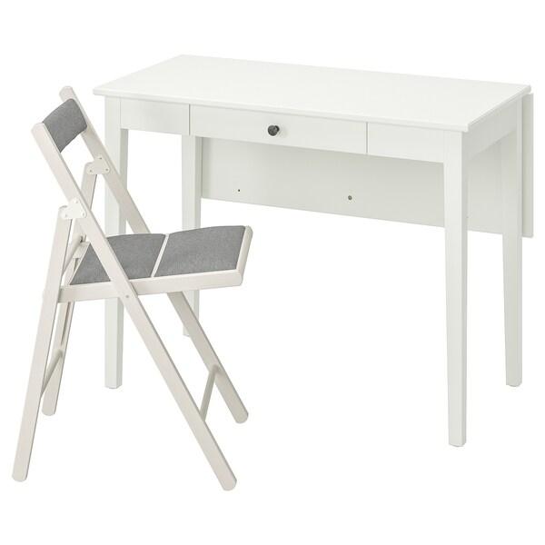 IDANÄS / TERJE طاولة و 1 كرسي, أبيض/Knisa رمادي فاتح