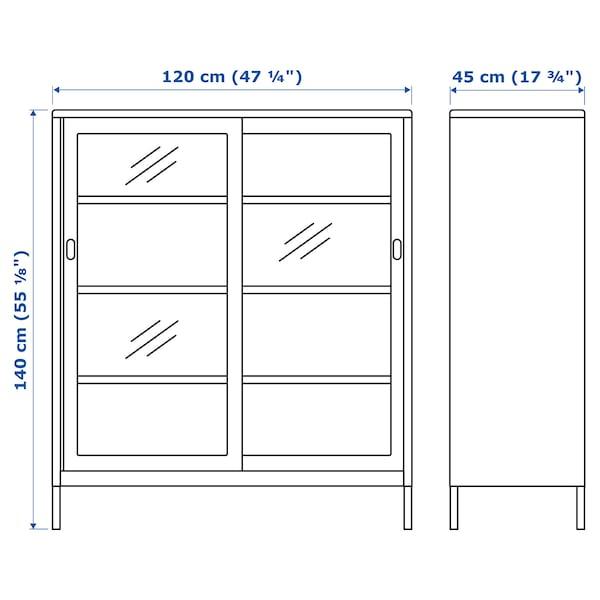 IDÅSEN Cabinet with sliding glass doors, beige, 120x140 cm