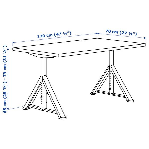 IDÅSEN Desk, black/dark grey, 120x70 cm