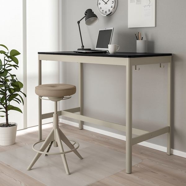 IDÅSEN Table, black/beige, 140x70x105 cm