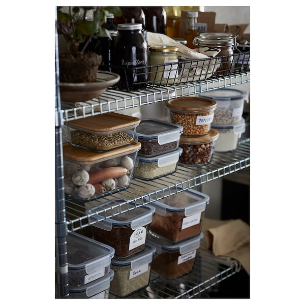 IKEA 365+ Food container, square/glass, 600 ml