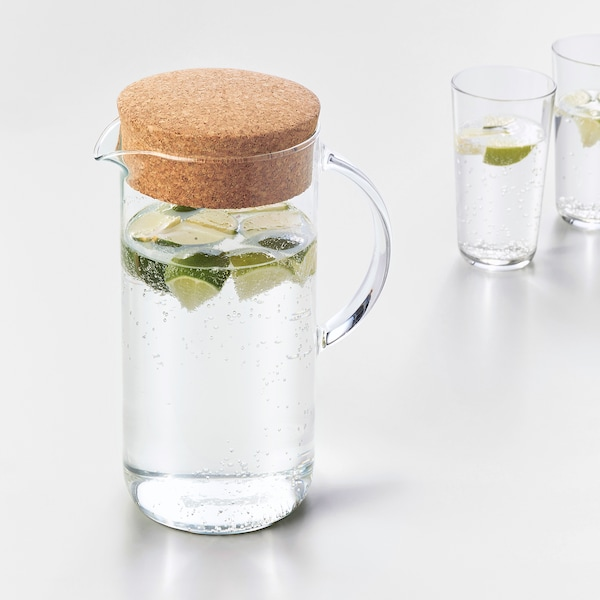 IKEA 365+ Jug with lid, clear glass/cork, 1.5 l