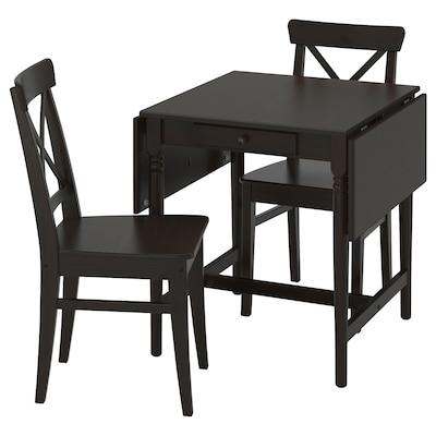 INGATORP / INGOLF طاولة وكرسيان, أسود-بني/بني-أسود