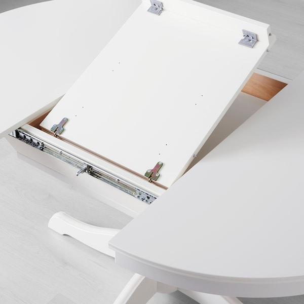 INGATORP / INGOLF طاولة و4 كراسي, أبيض/Nordvalla بيج, 110/155 سم