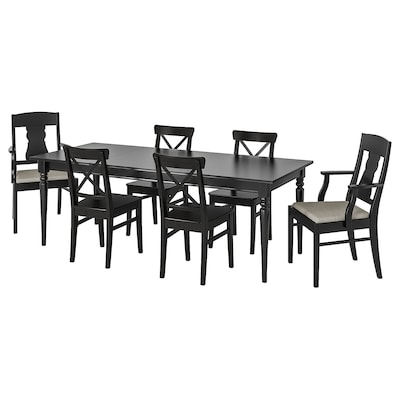 INGATORP / INGOLF Table and 6 chairs, black/Nolhaga grey/beige, 155/215 cm