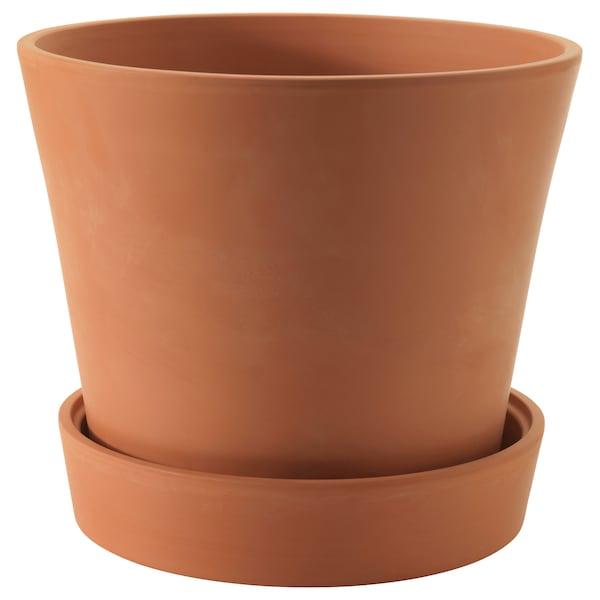 INGEFÄRA plant pot with saucer outdoor terracotta 34 cm 39 cm 32 cm 37 cm