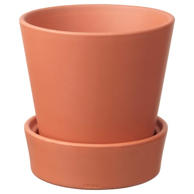 INGEFÄRA Plant pot with saucer, outdoor/terracotta, 15 cm