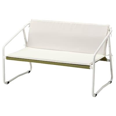 INGMARSÖ كنبة بمقعدين، داخلية/خارجية, أبيض أخضر/بيج, 118x69x69 سم