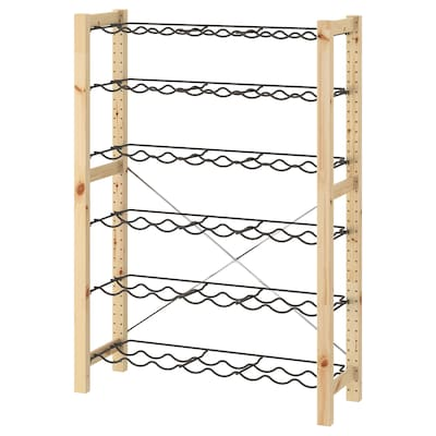 IVAR 1 section/bottle racks, pine/grey, 89x30x124 cm
