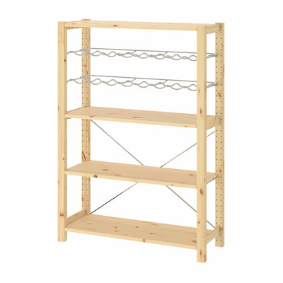 IVAR 1 section/shelves/bottle racks, pine, 89x30x124 cm