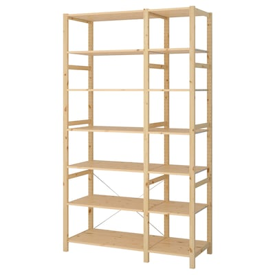 IVAR 2 sections/shelves, pine, 134x50x226 cm