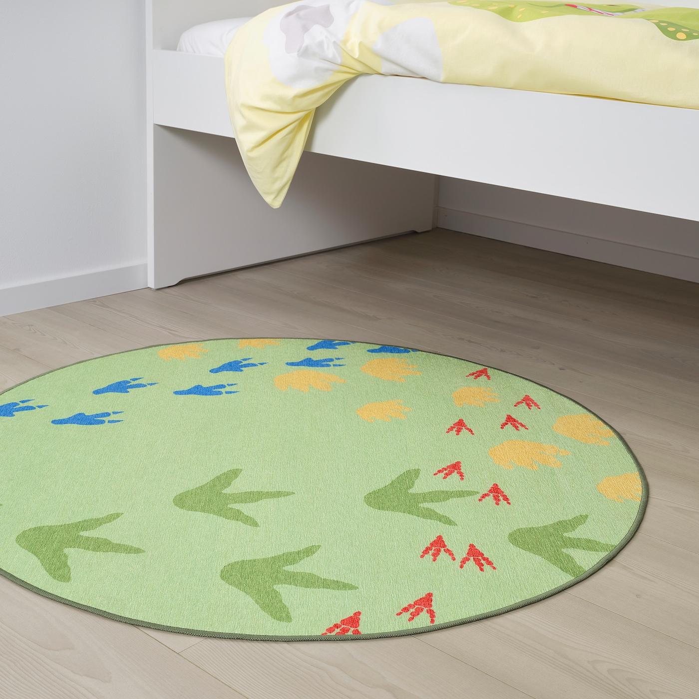 JÄTTELIK Rug, flatwoven, Dinosaur tracks/green, 100 cm